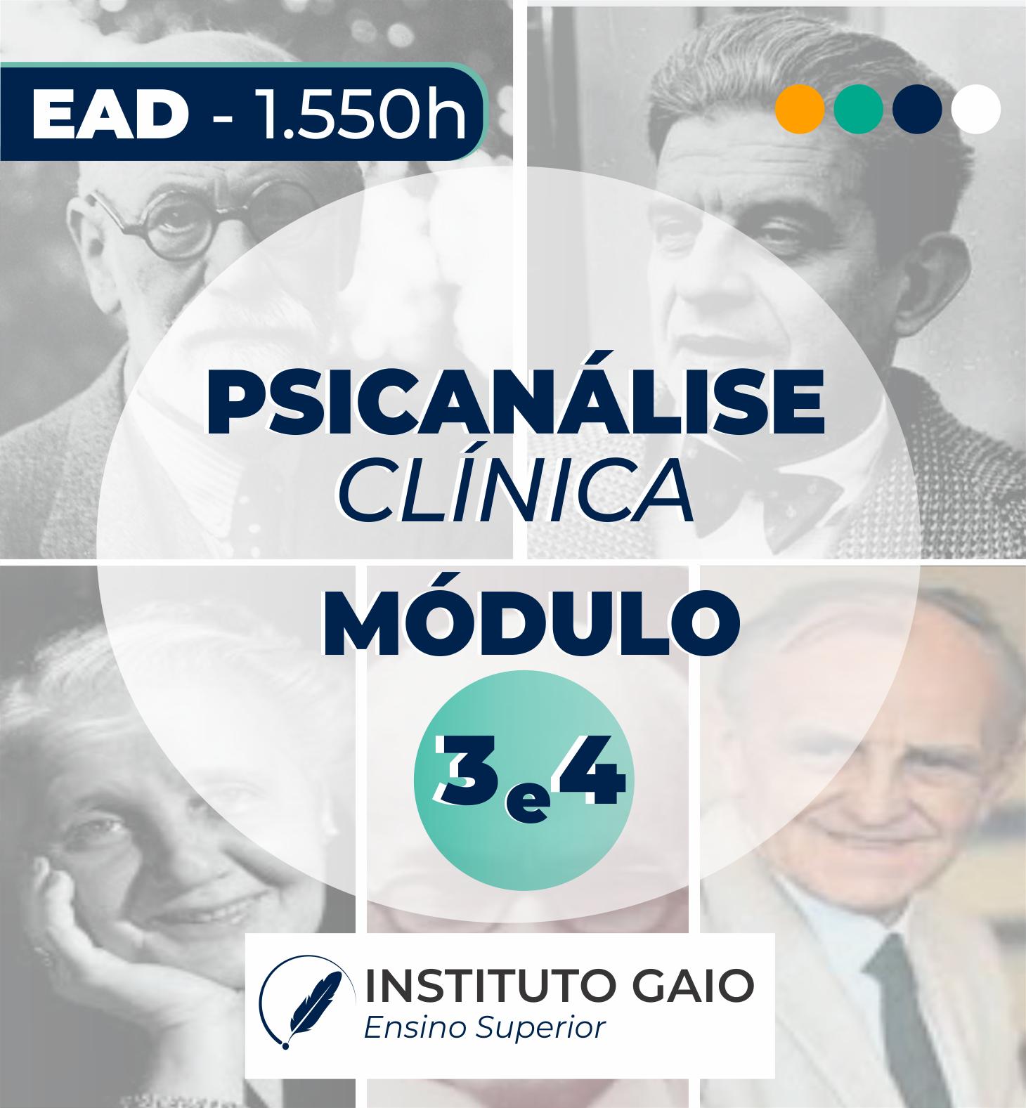 FORMAÇÃO EM PSICANÁLISE CLÍNICA – EAD – MÓDULO 3 e 4