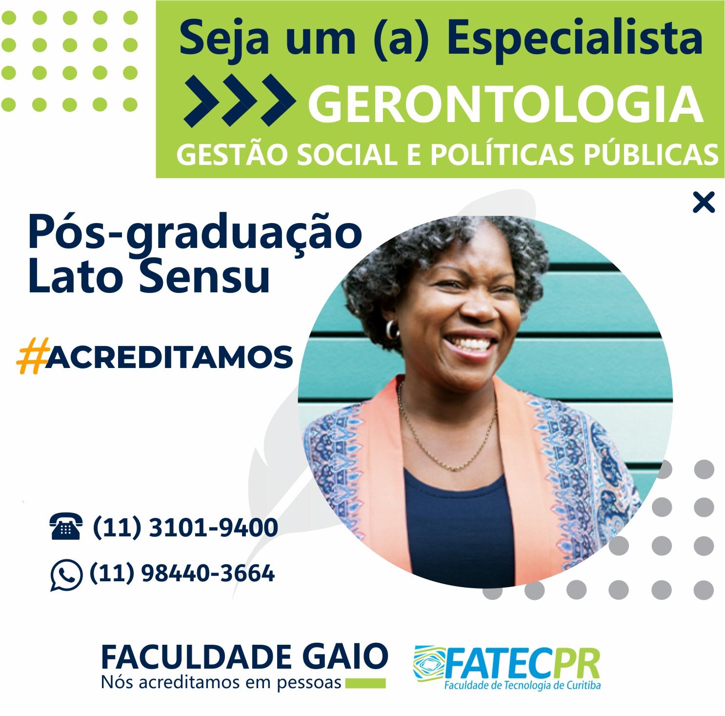 Pós-graduação em Gerontologia, Gestão Social e Políticas Públicas – 540h