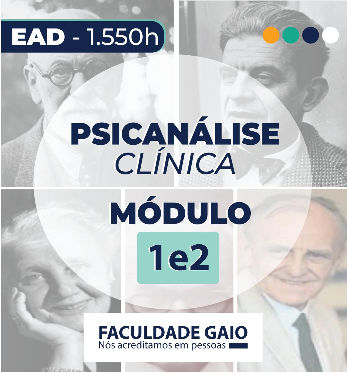 FORMAÇÃO EM PSICANÁLISE CLÍNICA – EAD – MÓD 1 e MÓD 2