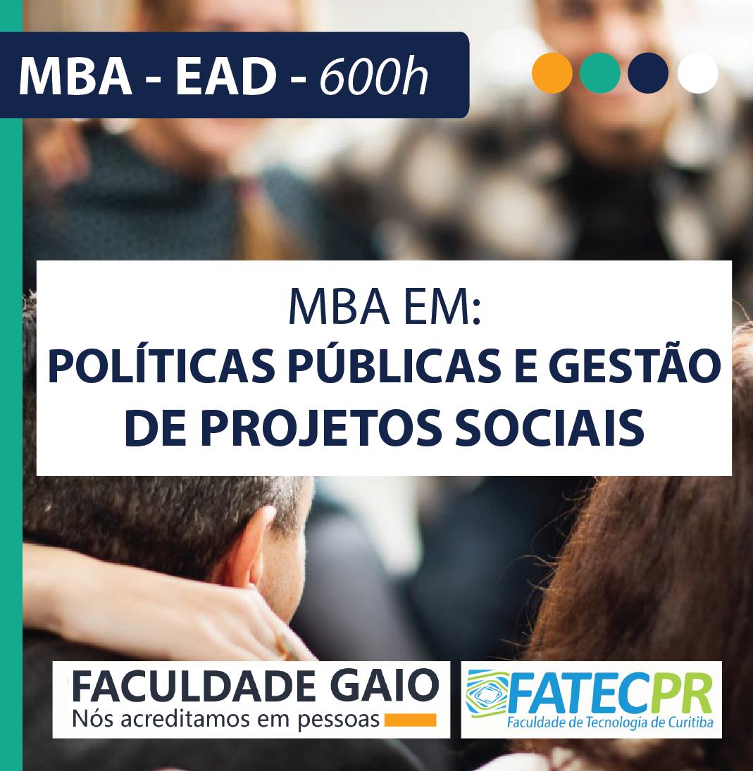 MBA EM POLÍTICAS PÚBLICAS E GESTÃO DE PROJETOS SOCIAIS – 540H